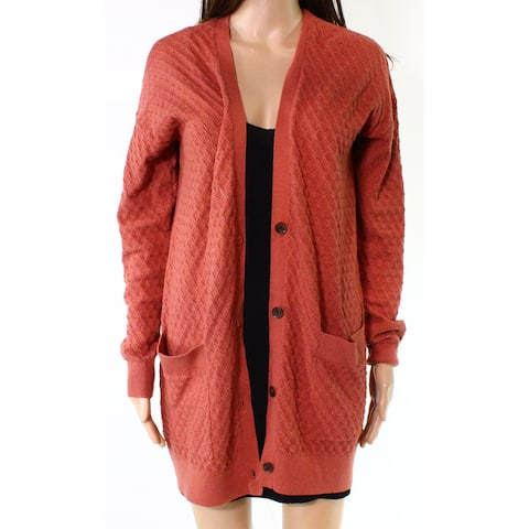 Hinge Womens Small Button Front Knit Cardigan Sweater