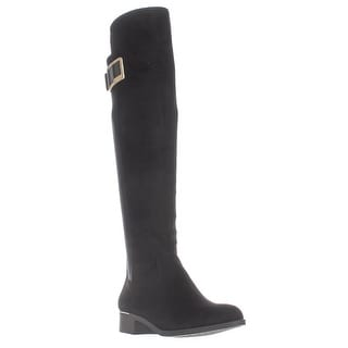 Calvin Klein Cyra Dress Back Stretch Riding Boots, Black Suede