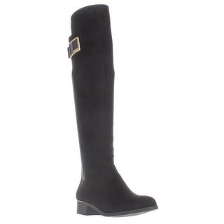Calvin Klein Cyra Dress Back Stretch Riding Boots, Black Suede (2 options available)