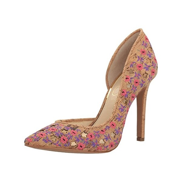 Jessica Simpson Womens Claudete 5 D'Orsay Heels Embroidered Cork