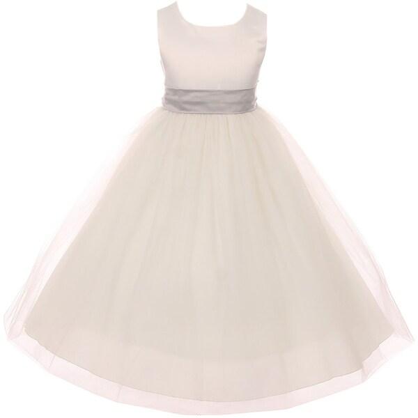 0fb355b4cce Shop Sleeveless Sash Big Bow Wedding Flower Girl Dress USA Silver KD ...