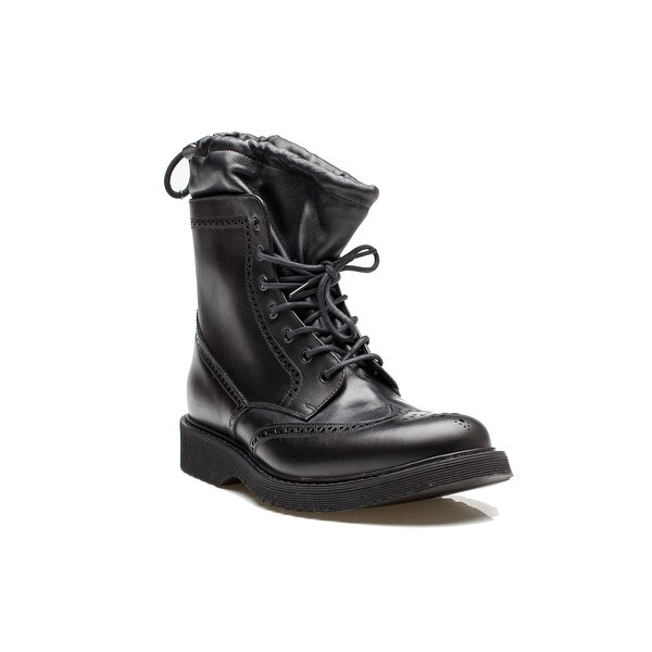 f02d6d6f7 Shop Prada Men's Leather Wingtip Lace Up Combat Boot Shoes Black ...