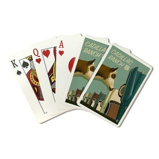 Cadillac Ranch, Texas - Route 66 - LP Artwork (Poker Playing Cards Deck)