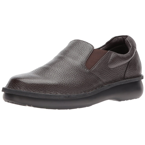Propét Mens Galway Leather Round Toe Slip On Shoes