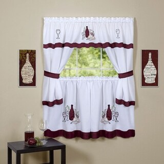 Cabernet Embellished Cottage Kitchen Curtain Set, 58x36 & 58x36