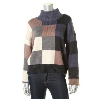 Current/Elliott Womens Wool Boxy Mock Turtleneck Sweater