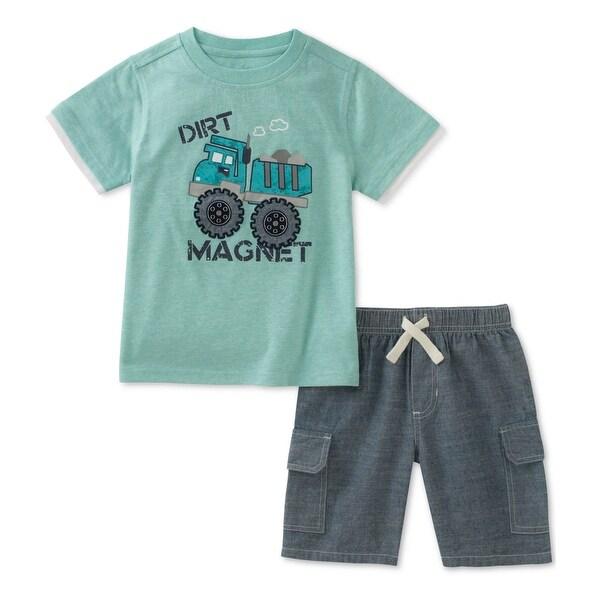 Kids Headquarters Boys Dirt Magnet 2-Piece T-Shirt Set, green, 6-9 mos