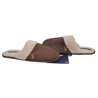 U.S Polo Assn Mens Premium Brown X-Large Size 13-14 Sherpa Slippers