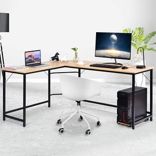 L Shaped Desk Corner Computer Desk PC Laptop Gaming Table Workstation-Natural - Natural