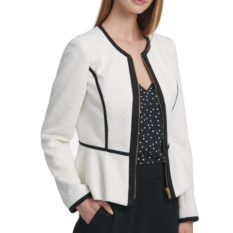 DKNY Womens Jacket White Ivory Size 12 Quilted Full Zip Contrast Trim