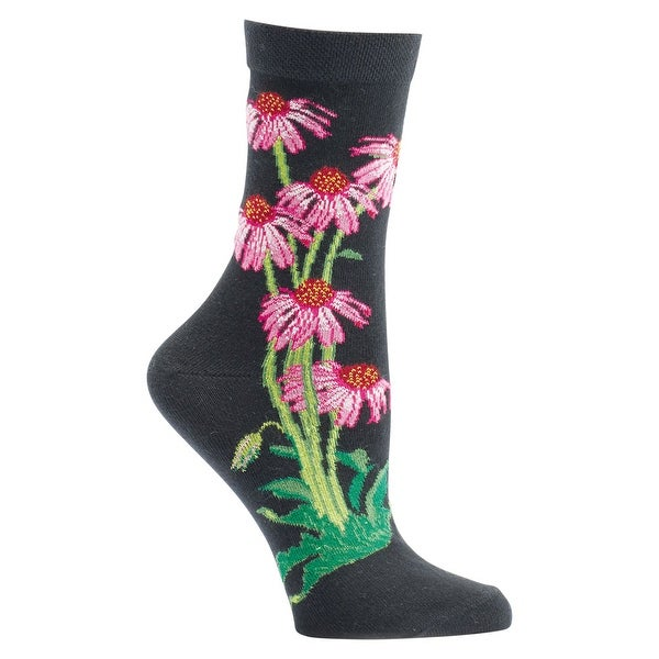 Women's Witches' Garden and Apothecary Floral Socks - Cotton - Echinacea - One size