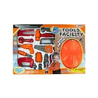 Daily Basic Kids Colorful Construction Fun Tool Play Set with Helmet, Hammer, Drill, Wrenches and More