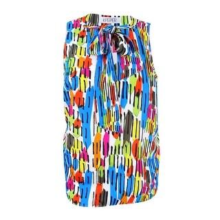 Kasper Women's Plus Size Graphic-Print Tie-Neck Top - azure multi - 2x