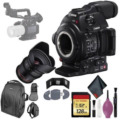 Canon C100 MarkII EOS Camera CMOS AF - 128GB - Rokinon 20T1.9 Cine DS