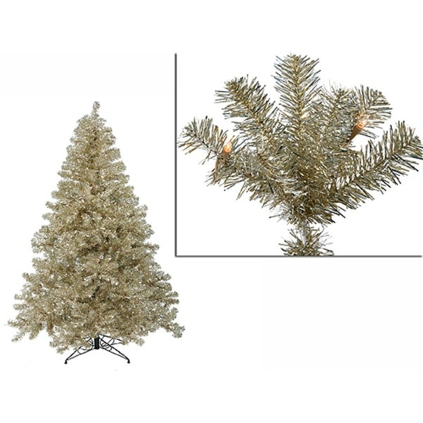 4' Pre-Lit Sparkling Champagne Full Artificial Tinsel Christmas Tree - Clear Lights