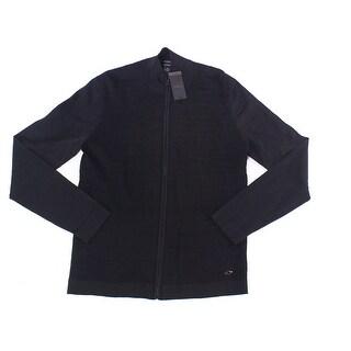 Alfani Deep Black Mens Size Small S Full Zip Mock-Neck Sweater