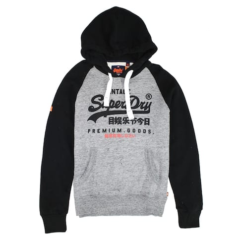 Superdry Mens Sweater Gray Black Size Large L Premium Goods Hooded