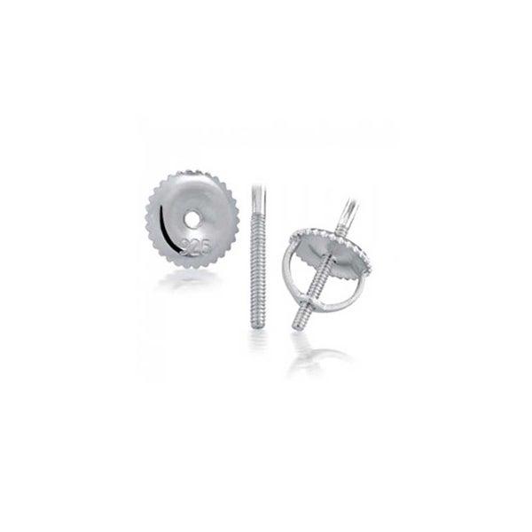925 Sterling Silver Cubic Zirconia Micro Pave Kite Screw  Back Stud Earrings