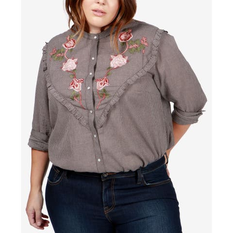 Lucky Brand Black Women's 1X Plus Embroidered Button Down Shirt