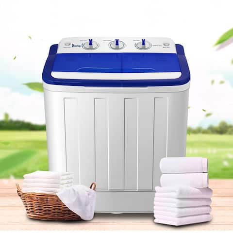 Hommoo Semi-Automatic Twin Tube Home Washing Machine Us Standard, White & Blue