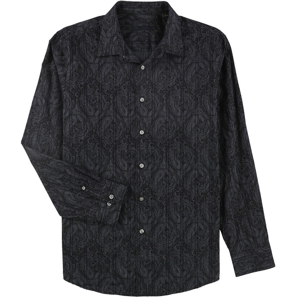 Tasso Elba Mens Reanult Paisley Button Up Shirt, Grey, Large. Opens flyout.