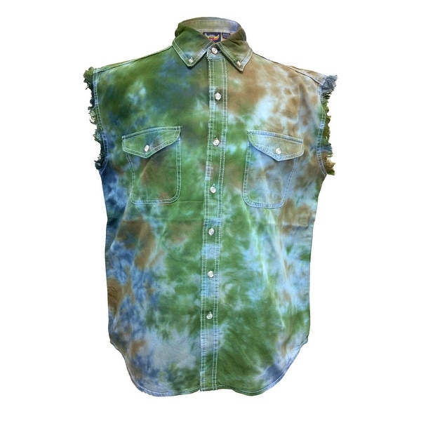 Men's Tie Dye Green Camo Sleeveless Denim Shirt Motorcycle Biker Vest Chopper USA Camouflage