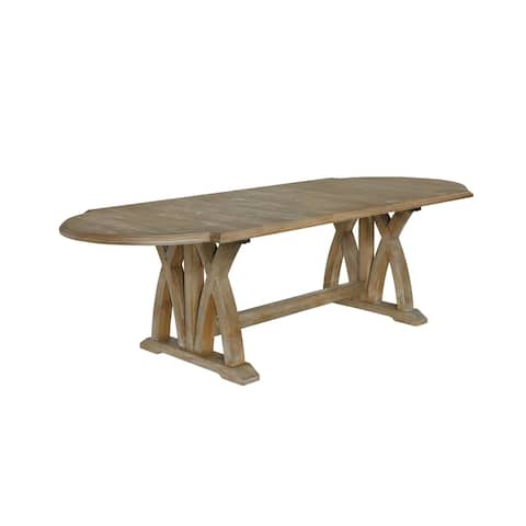 """Best Quality Furniture Rustic Dining Table w/Center 18-Inch Leaf - Oak - 88""""-106"""""""
