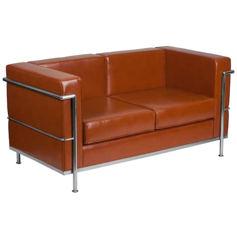 "Contemporary LeatherSoft Loveseat with Double Bar Encasing Frame - 57""W x 28.5""D x 27.5""H"