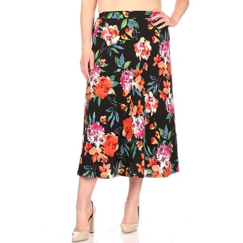 Women's Pattern Print A-Line Plus Size Midi Skirt