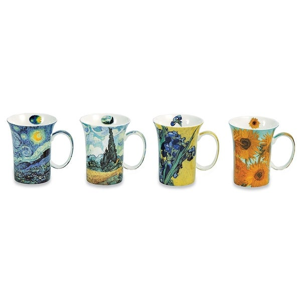 Van Gogh Coffee Mugs In Gift Box - Bone China - 10 Oz Cups - Set Of 4