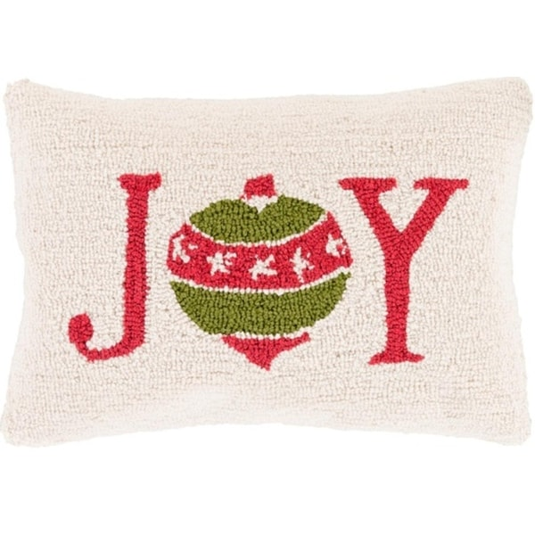 "13"" x 19"" Devil Red and Tree Green Decorative ""Joy"" Holiday Throw Pillow –Down Filler - brown"