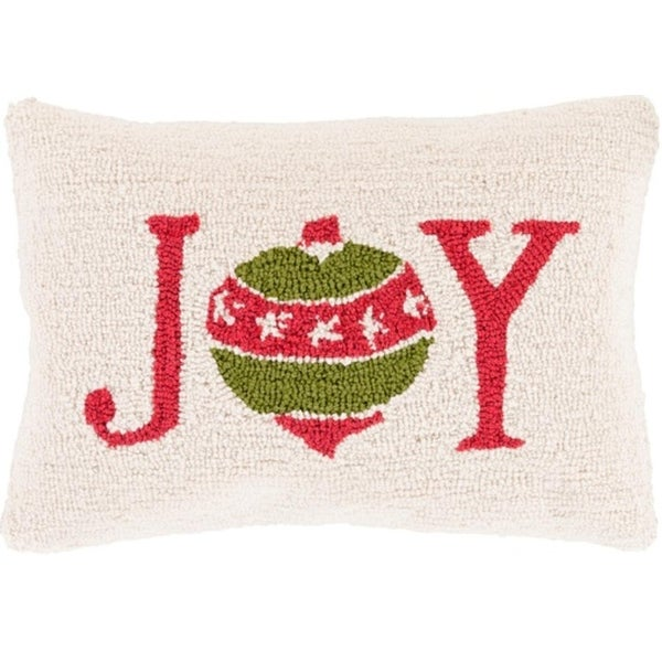 """13"""" x 19"""" Devil Red and Tree Green Decorative """"Joy"""" Holiday Throw Pillow - brown"""