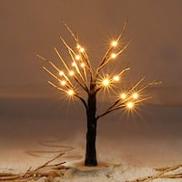 Costway 2Ft Christmas Xmas Brown Birch Snow Tree LED Light Warm Decorative Festival Party - as pic