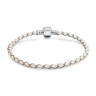 Bling Jewelry white Braided Leather Cord Barrel Clasp Bracelet .925 Sterling Silver