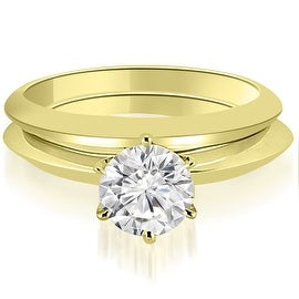 0.75 cttw. 14K Yellow Gold Knife Edge Round Cut Solitaire Bridal Set