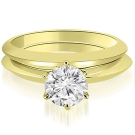 1.00 cttw. 14K Yellow Gold Knife Edge Round Cut Solitaire Bridal Set