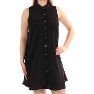 Womens Black Sleeveless Above The Knee Shift Dress Size: M