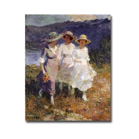 Walking in the Hills by Edward Potthast Gallery Wrapped Canvas Giclee Art (32 in x 24 in)