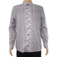 Alfani Gray Mens Size Large L Button Down Geo Printed Stripe Shirt