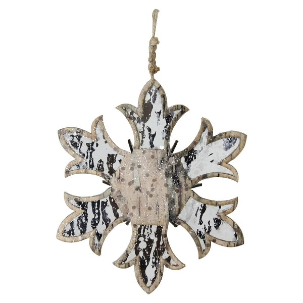"""6.5"""" Wooden Mirrored Snowflake Christmas Ornament - silver"""