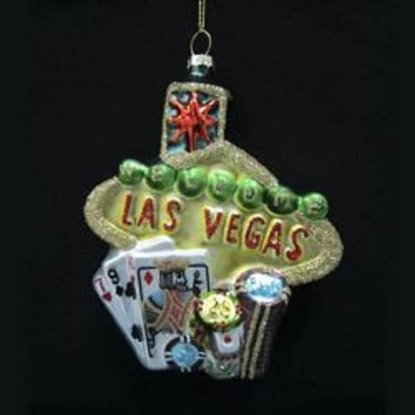 "5"" Casino Royale Glittered Glass Historical City Scapes of ""Las Vegas"" Holiday Christmas Ornament"