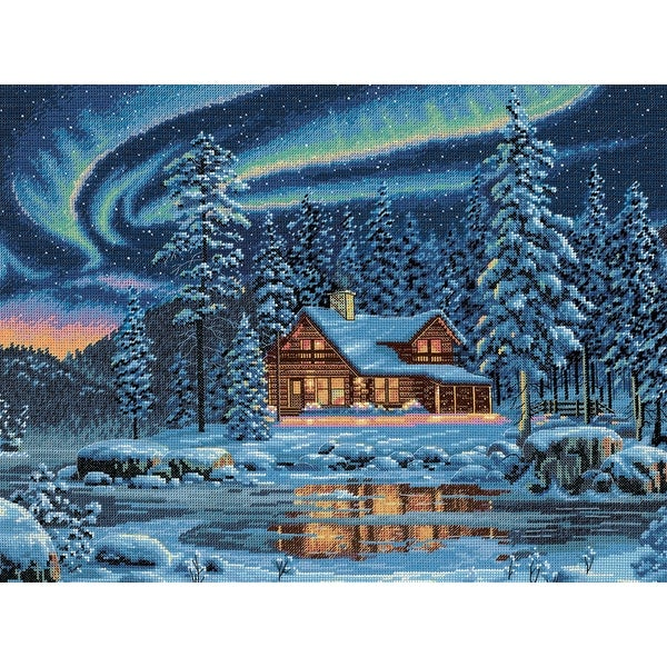 "Gold Collection Aurora Cabin Counted Cross Stitch Kit-16""X12"" 16 Count"