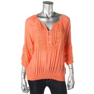 Cable & Gauge Womens Smocked Textured Peasant Top - XL