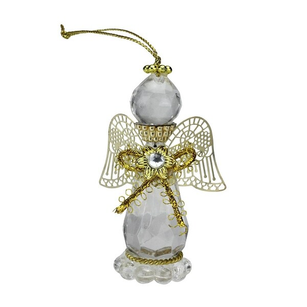 "3.25"" April Crystal Birthstone Gem Angel Christmas Ornament"