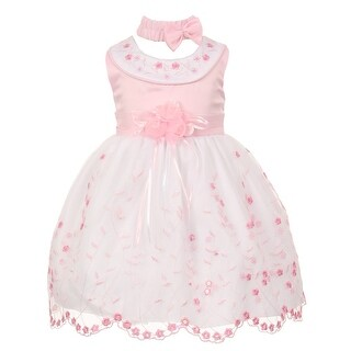 Baby Girls Pink White Floral Jeweled Easter Flower Girl Bubble Dress 3-24M