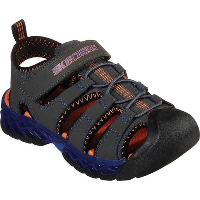 Skechers Boys' S Lights Flex Flow Closed Toe Sandal CharcoalRoyal