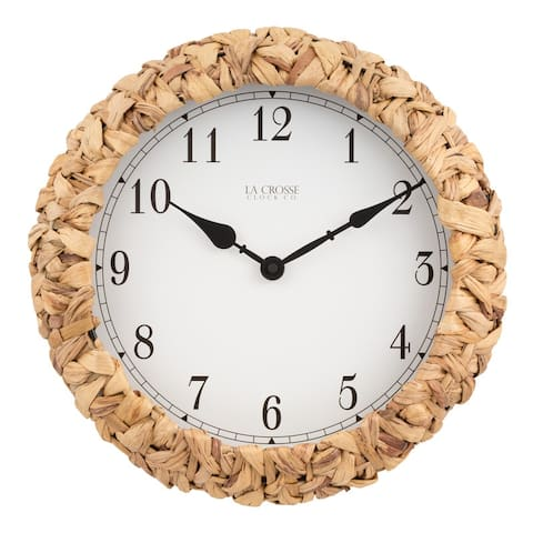 "La Crosse Clock BBB85456 14"" Palm Leaf Wrapped Quartz Clock"