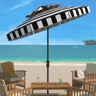Link to SAFAVIEH Outdoor Living Elsa Fashion Line 9Ft Double Top Umbrella, Base Not Included Similar Items in Patio Umbrellas & Shades