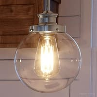 """Luxury Vintage Pendant Light, 9.5""""H x 6.875""""W, with Industrial Chic Style, Polished Nickel Finish by Urban Ambiance"""
