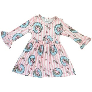 Long Sleeve Unicorn Stripe Print Flower Girl Dress Pink 501216